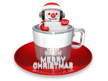 3d santa in the christmas cup Stock Photo