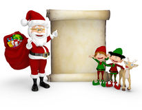 3D Santa with a Christmas list Royalty Free Stock Photography
