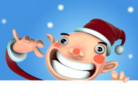 3D Santa Claus cartoon. 3d Santa Claus illustration smile holding a blank sign on snow background Stock Photo