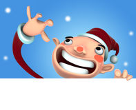 3D Santa Claus cartoon. 3d Santa Claus illustration smile holding a blank sign on snow background Royalty Free Stock Photography