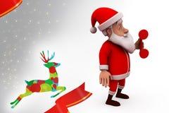 3d Santa Claus med telefonillustrationen Royaltyfria Foton