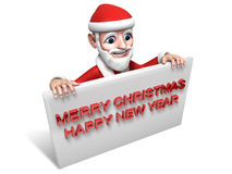 3d santa claus and white board Stock Image