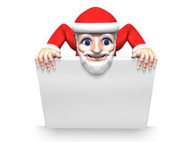 3d santa claus and white board Royalty Free Stock Images