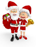 3D Santa et Mme Claus Photos stock