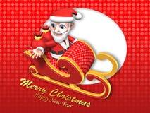 3d santa on the flying sleigh Stock Photography