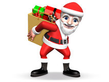 3d santa with gifts in the paper-bag Royalty Free Stock Images