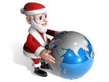 3d santa holding the globe Royalty Free Stock Images