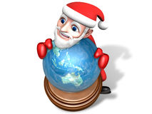 3d santa holding the globe Royalty Free Stock Photo