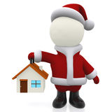 3D Santa holding a house Royalty Free Stock Image