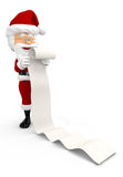 3D Santa with a long Christmas list Stock Images