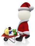 3D Santa pushing a wheelbarrow Stock Image