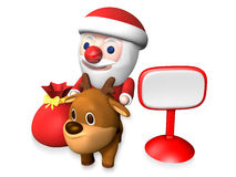 3d santa and rudolf beside the signboard Stock Photos