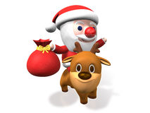 3d santa's funny rudolf riding Royalty Free Stock Image