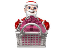 3d santa's gift shopping for christmas Royalty Free Stock Photo