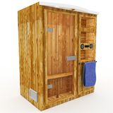3d sauna cabin with blue towel Royalty Free Stock Image