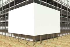 3d scaffolding and blank advertising billboard Stock Photo