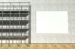 3d scaffolding and blank advertising billboard. With copy space Royalty Free Stock Photos