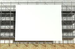 3d scaffolding and blank advertising billboard. With copy space Stock Photos
