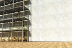 3d scaffolding and renovated wall. Refurbishment Royalty Free Stock Photo
