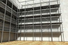 3d scaffolding and renovated wall. Refurbishment Stock Image