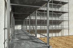 3d scaffolding and renovated wall. Refurbishment Royalty Free Stock Image