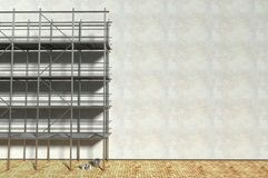 3d scaffolding and renovated wall. Refurbishment Stock Images