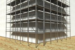 3d scaffolding and renovated wall. Refurbishment Stock Photo