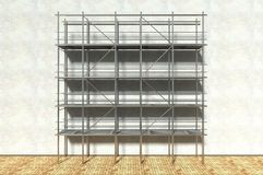 3d scaffolding and renovated wall. Refurbishment Royalty Free Stock Photos