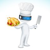 3d Scalable Cook. Illustration of 3d cook in vector fully scalable standing with dish and knife Stock Photos