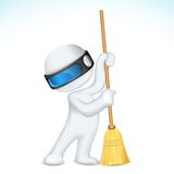 3d Scalable Man with Broom Stock Images