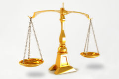 3d Scale. 3d image of golden scale against white background royalty free stock photo