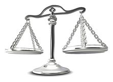 (3d) Scales of justice. Scales of justice. Isolated over white Stock Photography