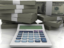 3d scene - bussines cash. 3d render calculator and stock dollars Stock Photography