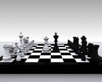 3D Schaak - Koning en Koningin Royalty-vrije Stock Afbeeldingen