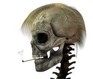 3D schedel met sigaret Royalty-vrije Stock Afbeeldingen