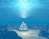 3D schedels onderwater stock illustratie