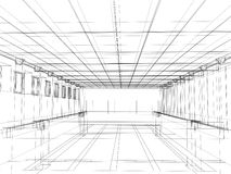 3d schets van een binnenland van een openbaar gebouw Stock Foto