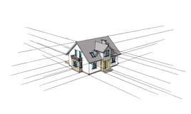 3D schets van het huis Stock Fotografie