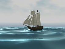 3D schip van de Piraat op Oceaan Stock Fotografie