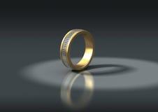 3D Schmucksachen, Goldring mit Diamanten stock abbildung