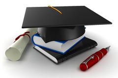 3d school graduation. Isolated on white Stock Photos