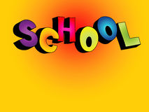 3D school text background. Colorful 3D cartoon text SCHOOL on colorful background vector illustration
