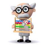 3d Scientist with abacus Royalty Free Stock Photography