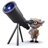 3d Scientist has a new telescope Royalty Free Stock Photo