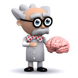 3d Scientist holding a brain Stock Image