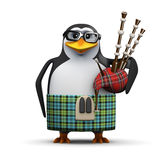 3d Scottish penguin with bagpipes Stock Photo