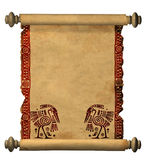 3d scroll of old parchment Royalty Free Stock Photo