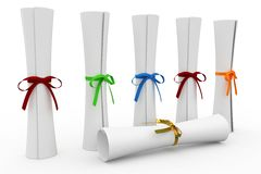 3d scrolls with colored ribbon Stock Image