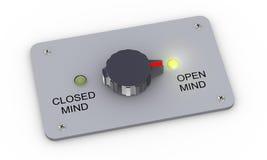 3d se abren e interruptor cerrado de la mente Foto de archivo