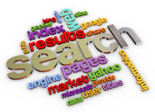 3d Search engine. 3d render of wordcloud of search engine Royalty Free Stock Photo